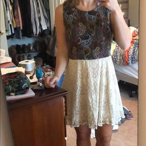 Paisley and lace dress
